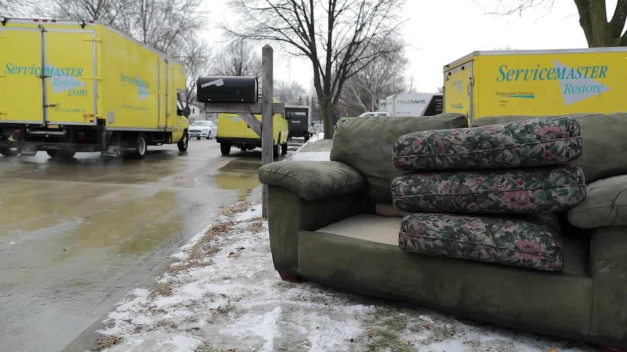 Appleton homes flooded after main break