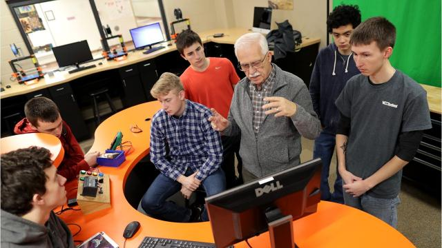 Kaukauna High School used a budget of about $20,000 to create a space in the school's library with four 3-D printers, a green screen, a milling machine, a vinyl cutter and other high-tech equipment.