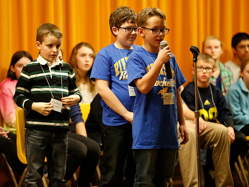 See the three spelling bee finalists compete for spelling bee champion