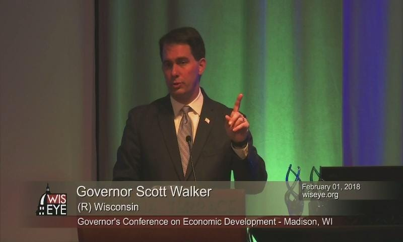 Governor Scott Walker touts the potential economic benefits of Foxconn for Wisconsin