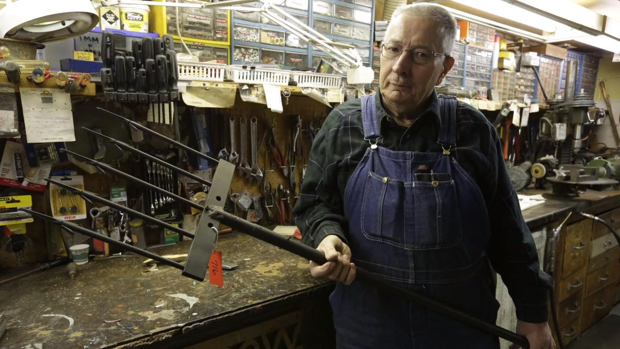 Steve Karow has made over 700 of his spears for sturgeon spearers all over the Lake Winnebago region.  He has developed his spear over the years and has perfected his design.  It takes him about 40 hours for each spear that he builds.