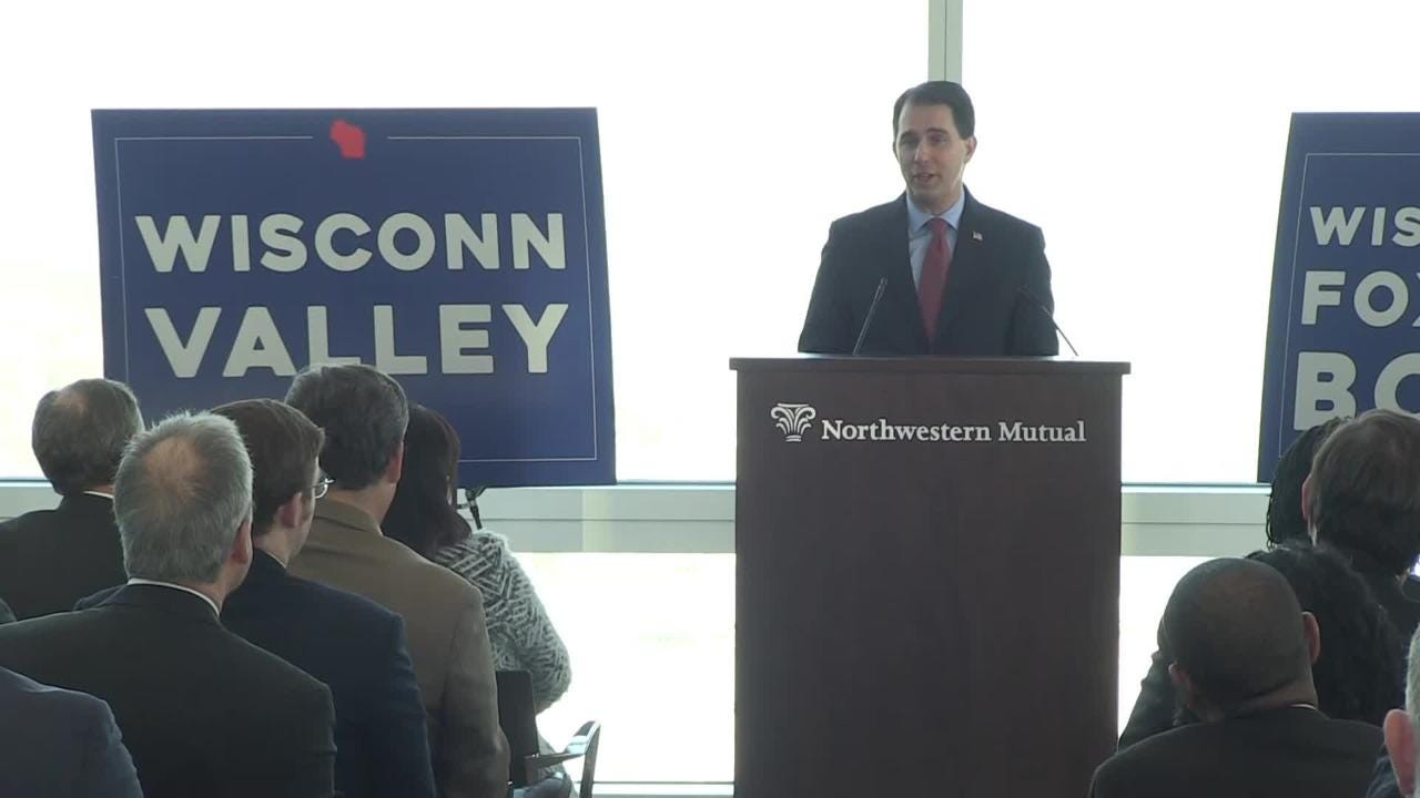 Milwaukee County Executive Chris Abele and Gov. Scott Walker discuss Foxconn's purchase of a building in downtown Milwaukee.