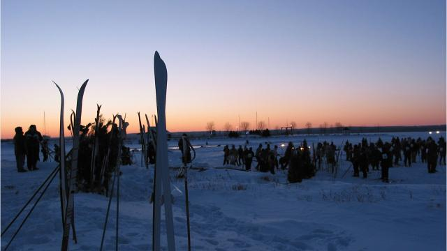 This 10-kilometer nighttime ski and snowshoe race follows a course across frozen Lake Superior from Ashland to Washburn. The course is lighted by a thousand ice luminaries, with rest stations with bonfires at every kilometer.