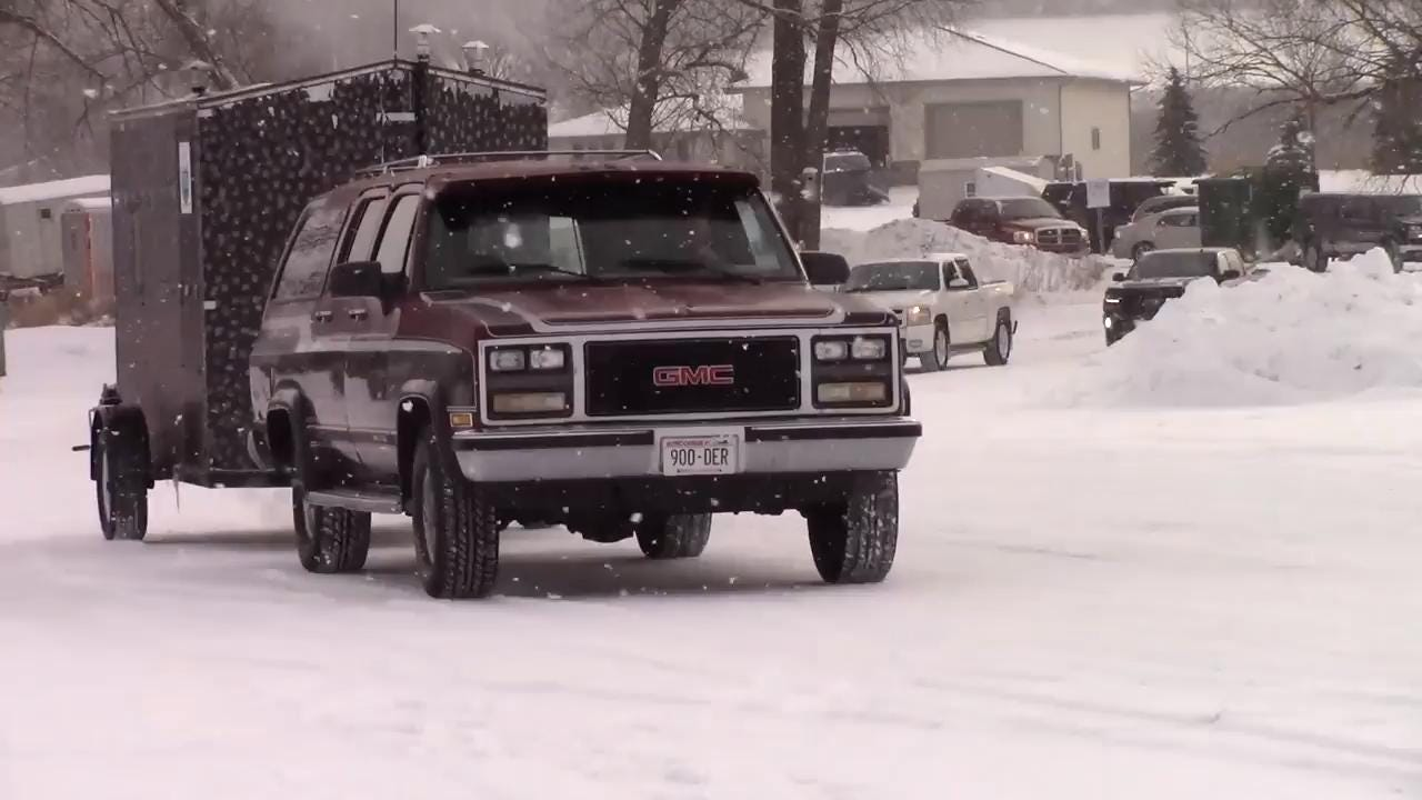 Hundreds of vehicles and ice shanties were seen making their way out onto Lake Winnebago in advance of sturgeon spearing season.