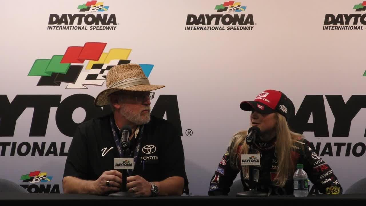 Natalie Decker of Eagle River, Wis., discusses qualifying first for the Lucas Oil 200 in her Daytona International Speedway debut.