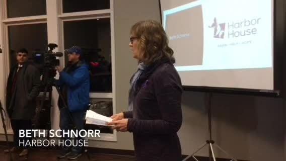 Beth Schnorr, executive director of Harbor House, speaks at a vigil honoring Sara Schmidt and other domestic violence victims.