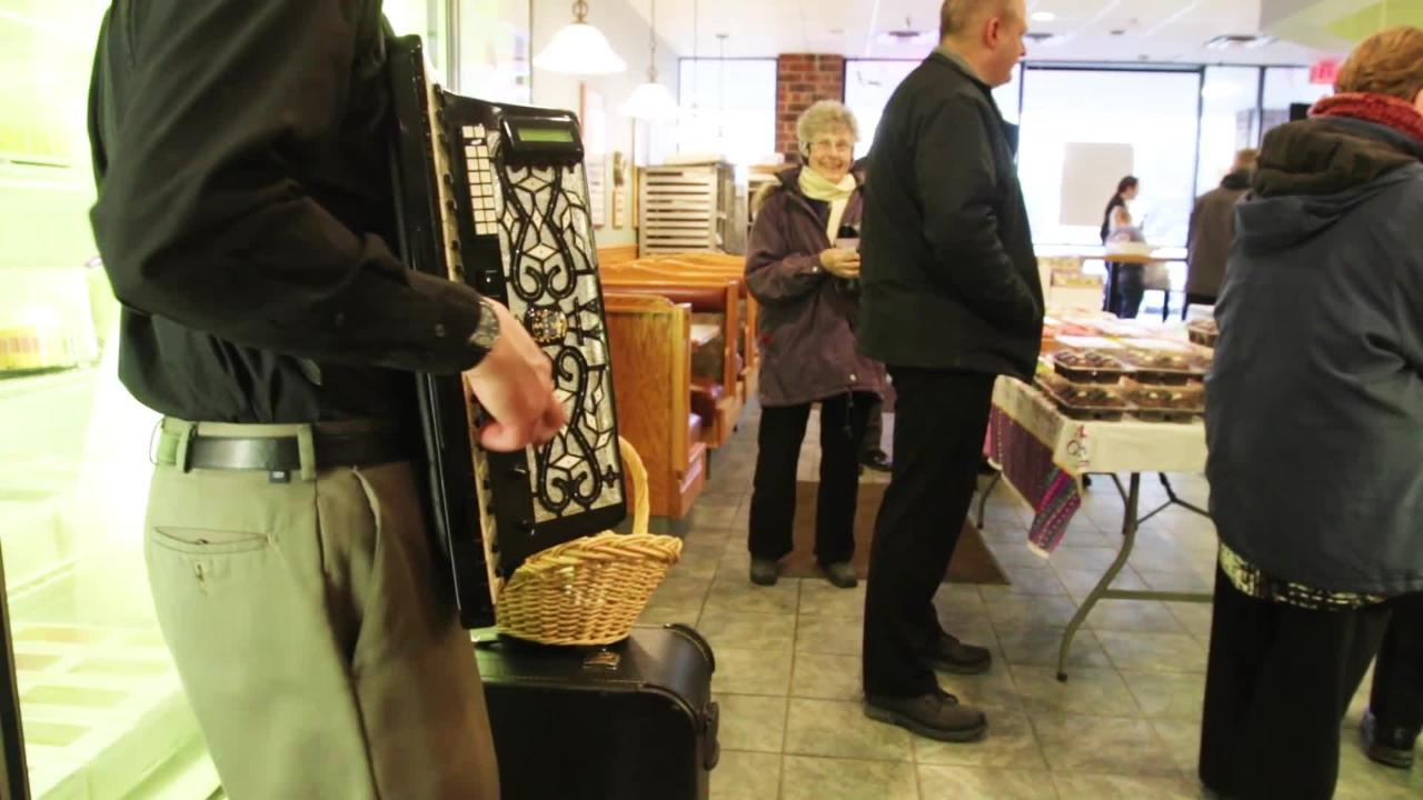 The line was out the door as Brookfield's National Baking Co. opened for customers to pick up paczkis, a rich, jelly-filled pastry, to celebrate Fat Tuesday in advance of the beginning of Lent.