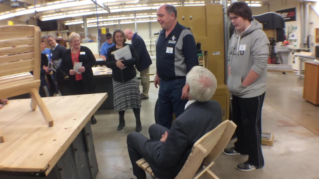 State Superintendent Tony Evers visited Little Chute High School on Thursday for Career and Technical Education (CTE) month.