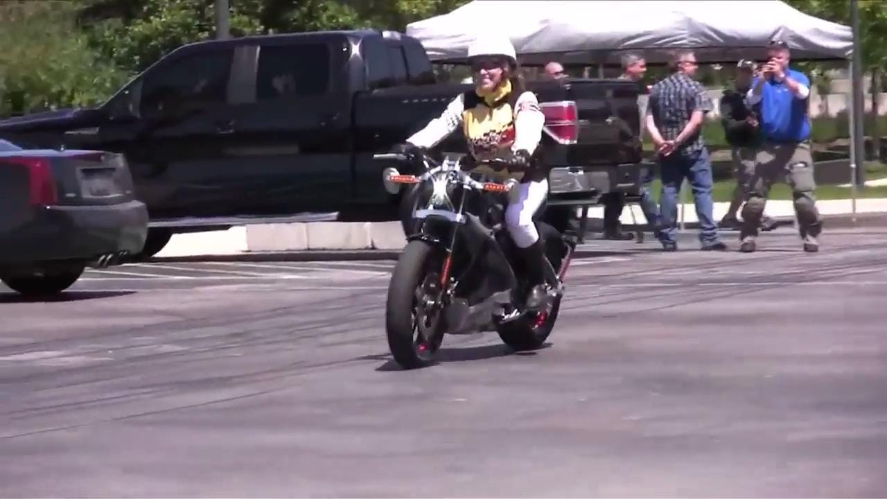 In 2014 Harley-Davidson had a select group of riders test ride their handmade non-production electric motorcycle named Live Wire at Harley-Davidson Museum bike night. Brenda Kuhl of Beaver Dam shared her opinion.