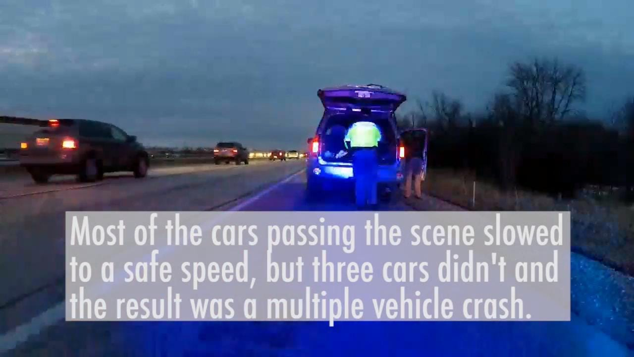 While conducting a traffic stop, a sheriff's department squad's video camera recorded unsafe driving and a resulting crash.
