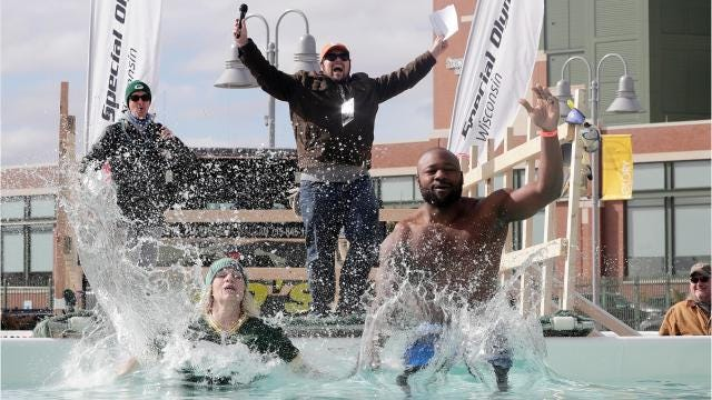The 2018 Green Bay Polar Plunge expected to exceed the $140,000 last year's event raised thanks in part to a move to Lambeau Field. Feb. 24, 2018.