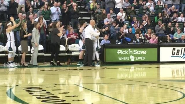 UWGB seniors Allie LeClaire and Jessica Lindstrom received standing ovations while walking off the Kress Center floor for the final time.