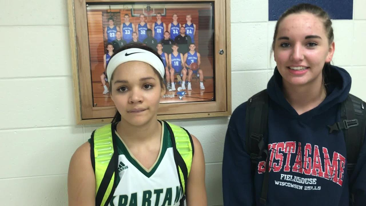 Laconia's Kiarra Otto (left) and Alissa Dinshelped carry Laconia to a WIAA Division 3 sectional semifinal win over Waupun on Thursday.