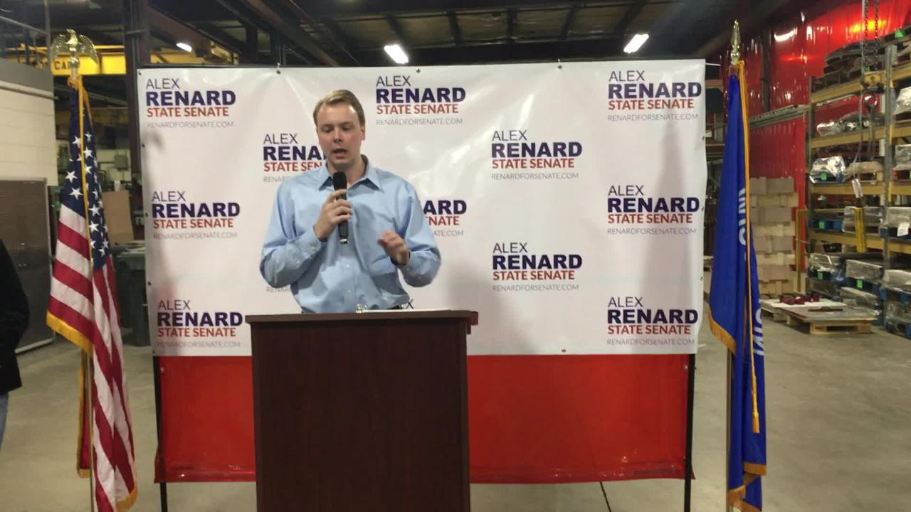 Alex Renard, operations manager at Renco Machine Co., his family's company, announced his run for the vacant 1st Wisconsin Senate District seat. (March 6, 2018)