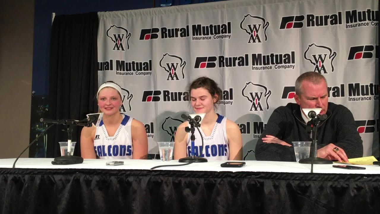 Heather Pearson of the Amherst girls basketball team talks after Thursday's Division 3 semifinal victory over St. Thomas More at the WIAA state girls basketball tournament at the Resch Center in Ashwaubenon.