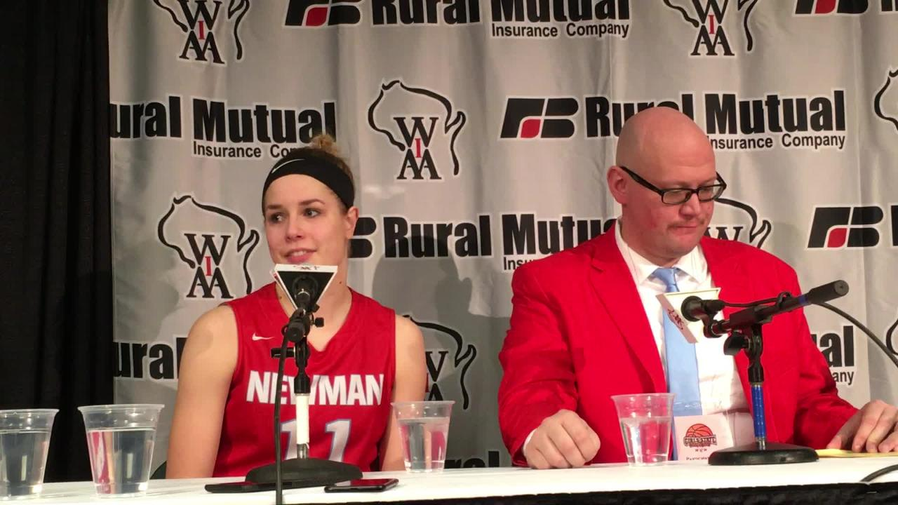 Newman Catholic senior Signe Fronek talks about playing in the WIAA state girls basketball tournament on the big stage at the Resch Center in Ashwaubenon.