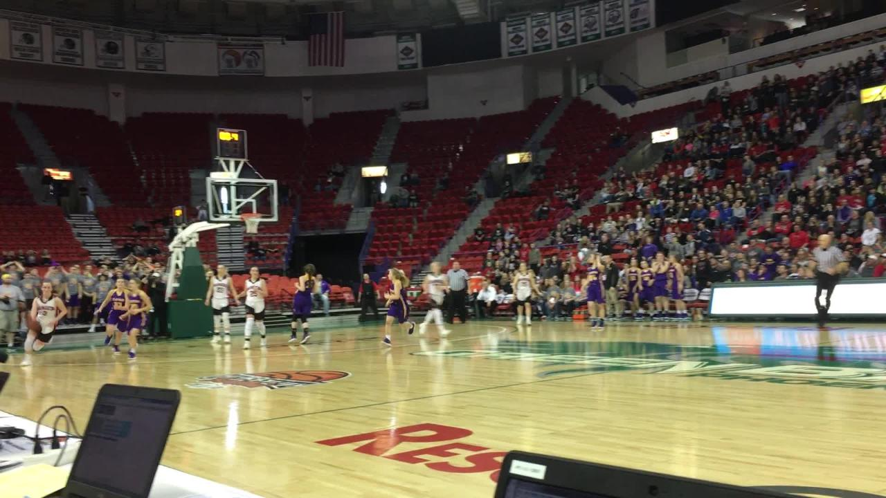 The closing seconds as Bangor defeats Clayton 57-54 in a WIAA state girls basketball Division 5 semifinal at the Resch Center.