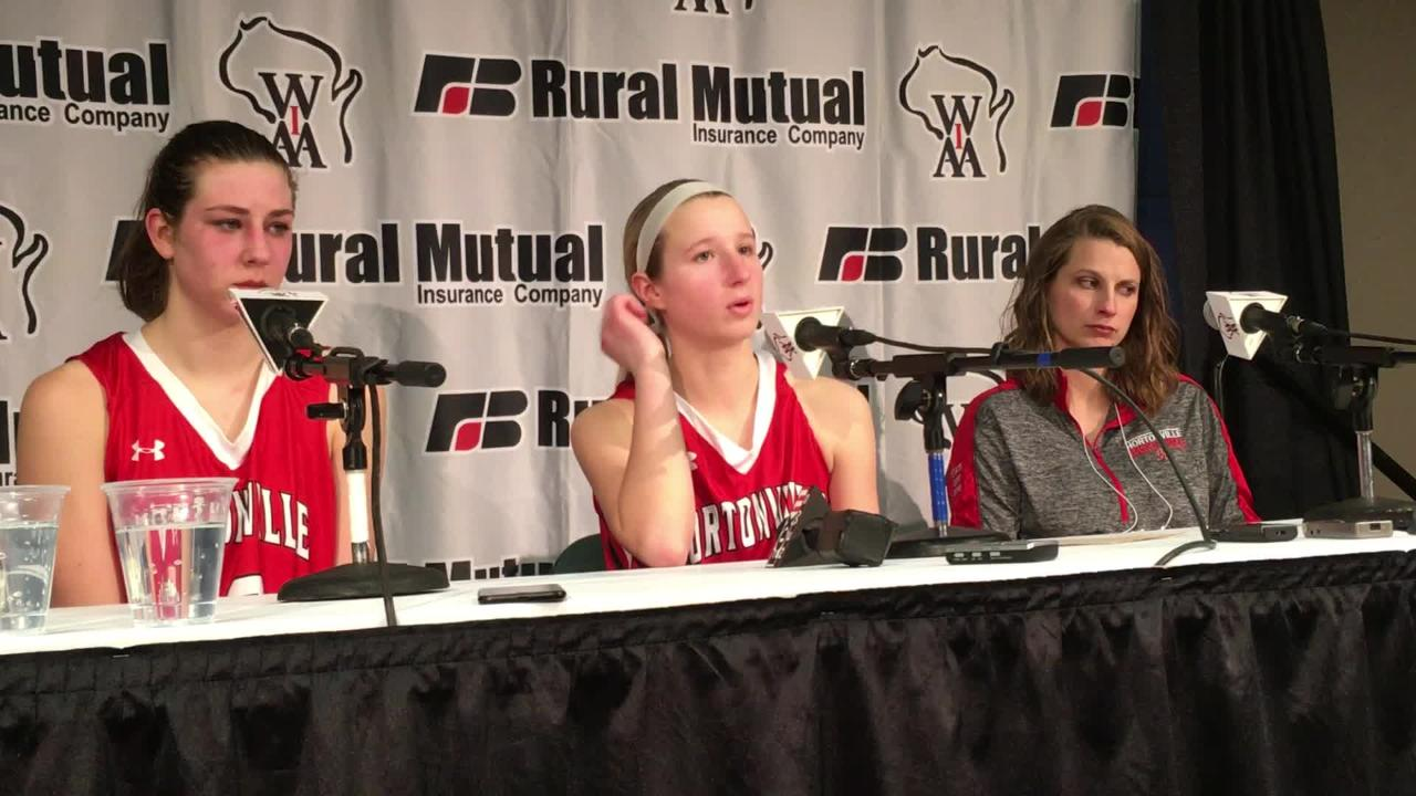 Hortonville's top scorer Shay Frederick talks about being hounded all game by Beaver Dam's defense during their WIAA state semifinal.