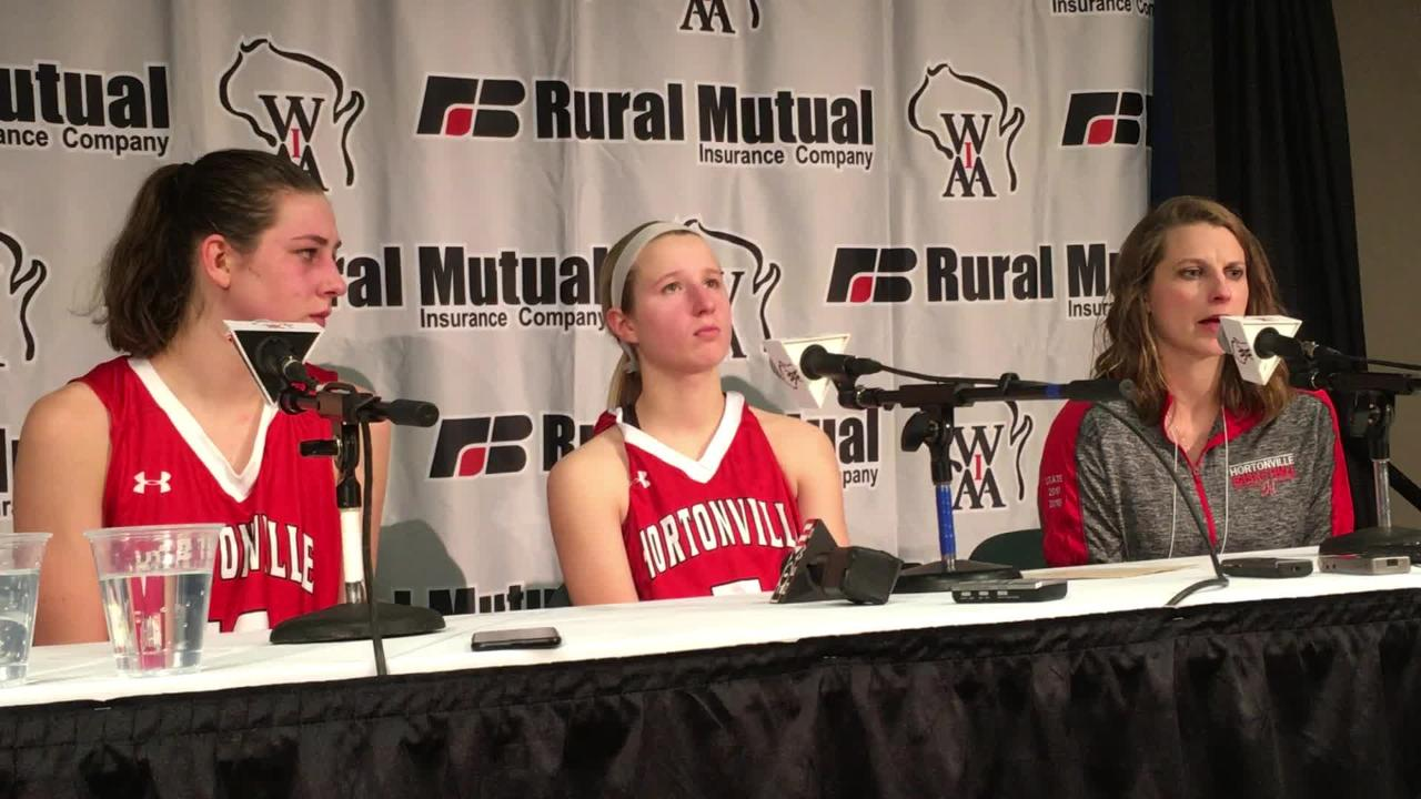 Hortonville girls basketball coach Celeste Ratka talks about changes the team made at halftime to get back into the game against Beaver Dam.