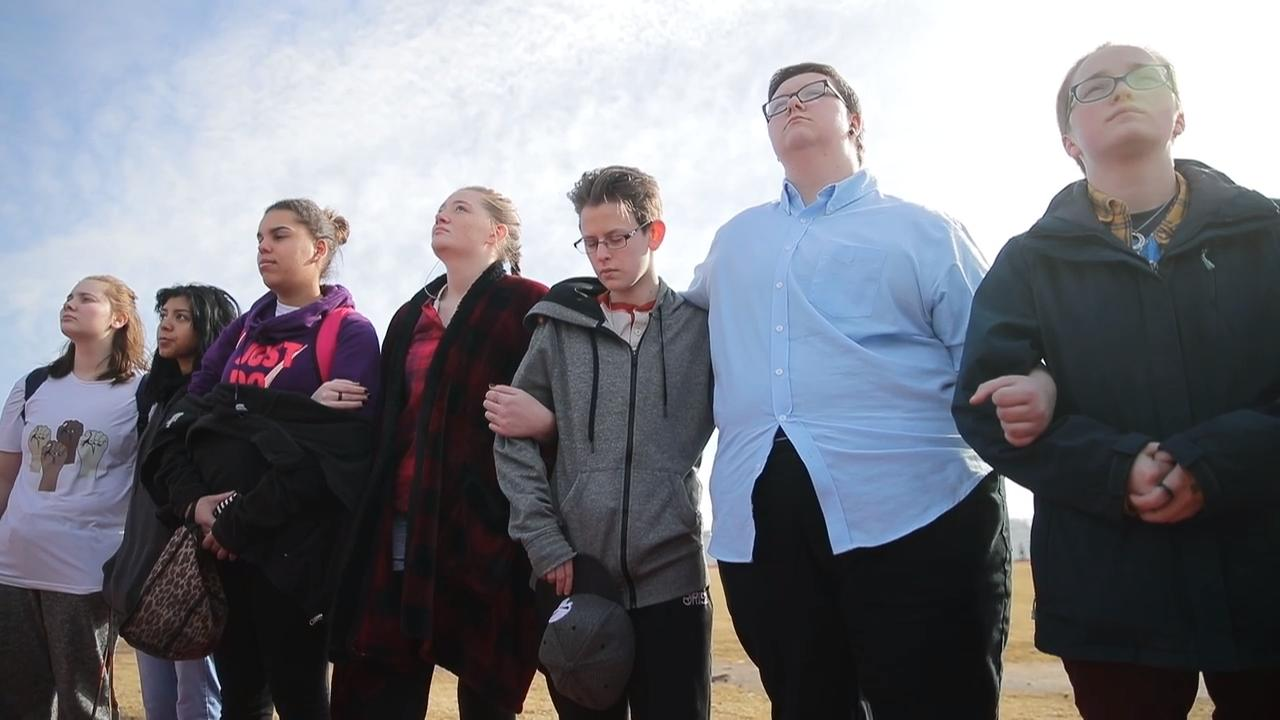 Students at Neenah High School participated in the National School Walkout a month after a shooting at a high school in Parkland, Florida, left 17 dead.