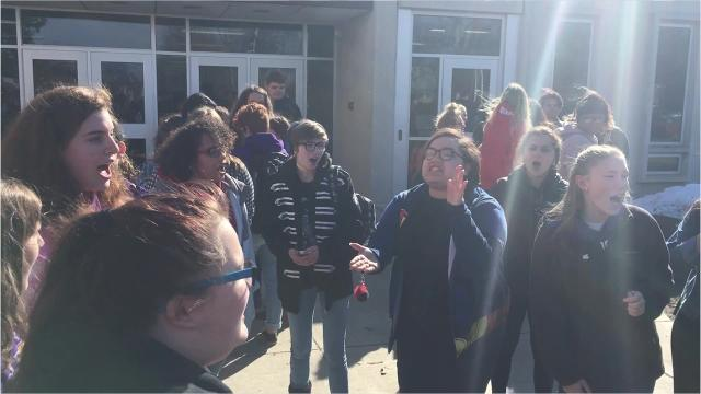 Cudahy High School students participate in the National Walkout on March 14 in honor of the Parkland shooting victims.
