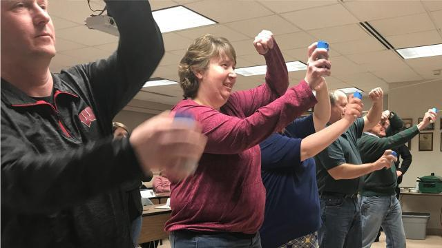 Week 2 of Manitowoc Police Department's Citizens Academy included a demonstration of various uses of force employed by police, including the use of a Taser. (March 14, 2018)