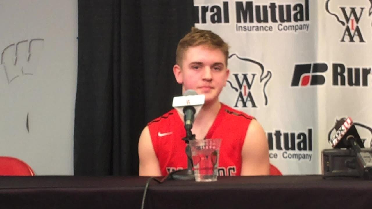 Valders senior guard Trent Hickmann talks about hitting the game-winning shot in overtime to send the Vikings into the WIAA Division 3 state boys basketball championship game. (March 15, 2018)