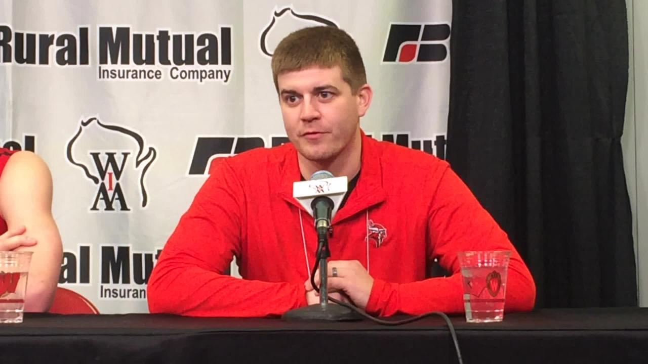 Valders coach Trevor Schwoerer talks about his team's overtime victory in the WIAA Division 3 state boys basketball semifinal. (March 15, 2018)