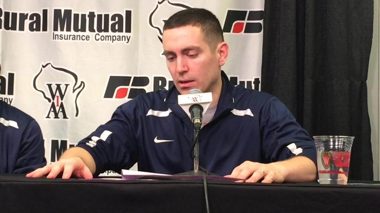 Roncalli coach Joe Garceau talks about his team's dominant victory over Pardeeville in the WIAA Division 4 state boys basketball semifinal. (March 15, 2018)