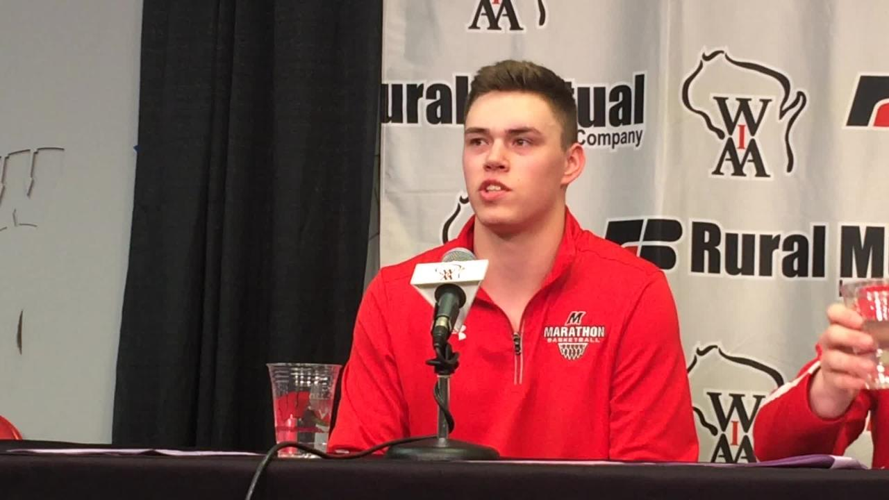 Marathon forward Nathan Stoffel discusses his team's win over Clear Lake in the WIAA Division 4 state boys basketball semifinal. (March 15, 2018)