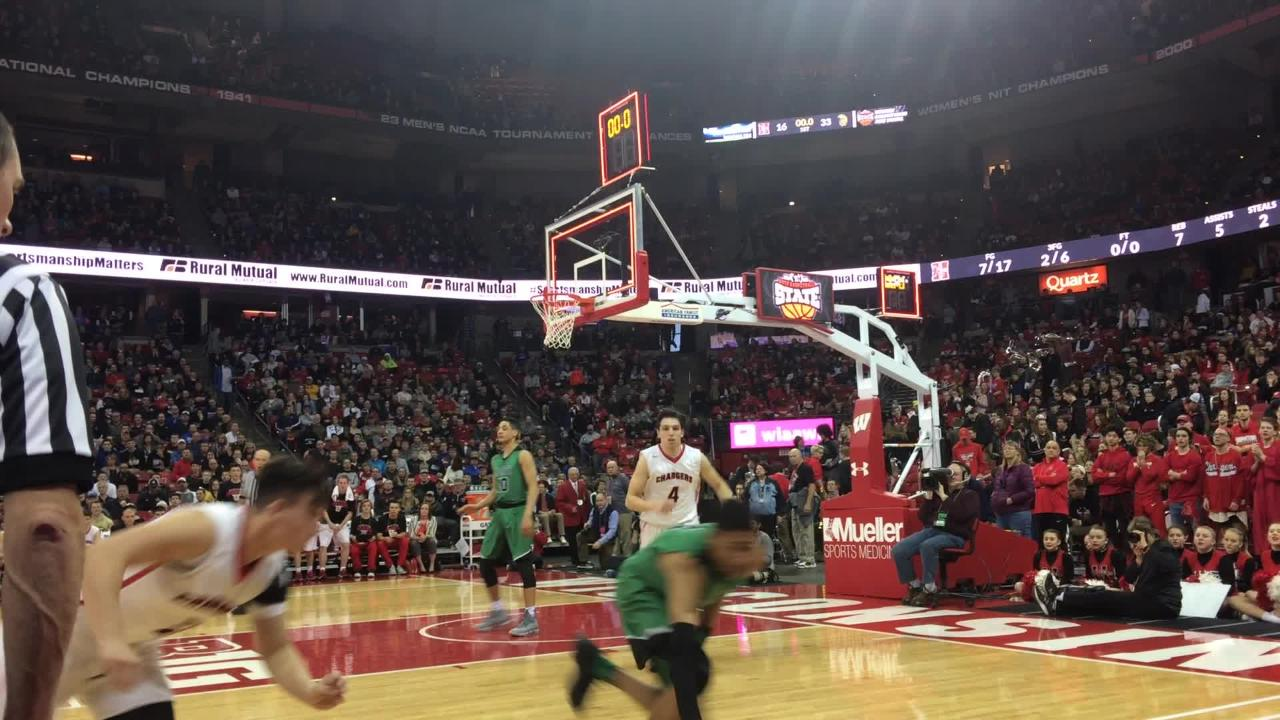 Tyrese Haliburton's almost buzzer-beater at halftime didn't count, but it was a great shot and a better reaction by the Oshkosh North standout.