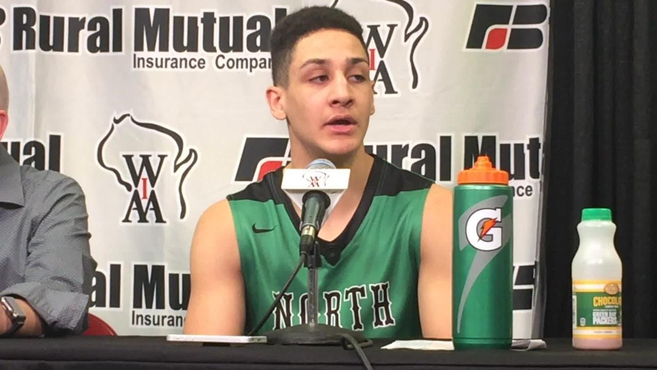 Oshkosh North's Quincy Anderson talks about the Spartans' victory over Hamilton at the Kohl Center in Madison.