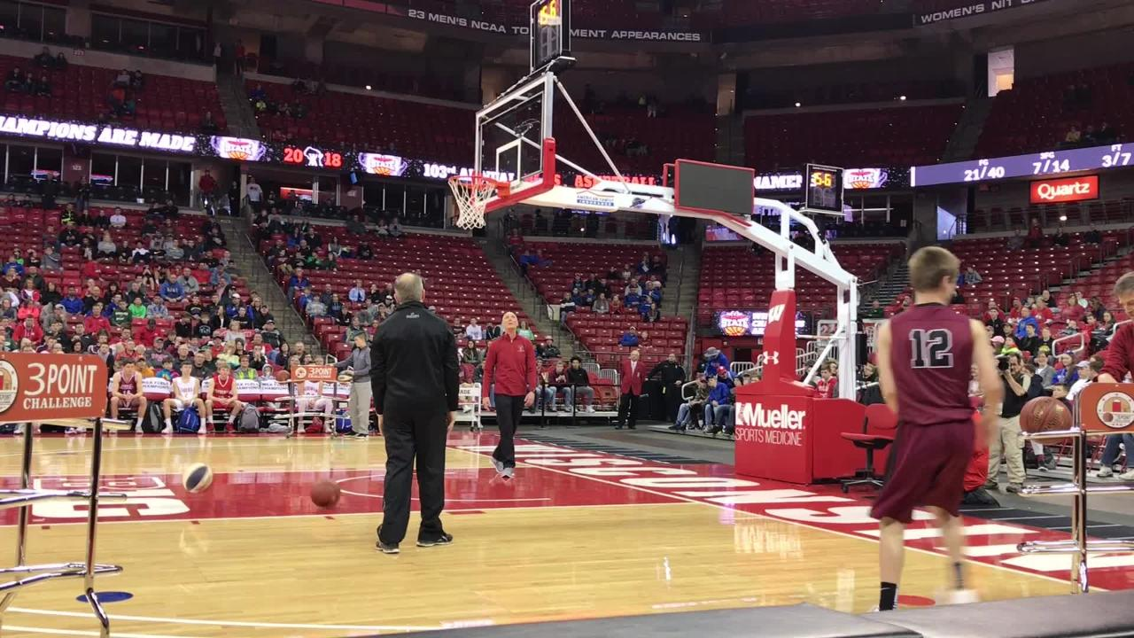 New Holstein's Ryan Steffes, Howards Grove's Blake Pedrin, De Pere's Bennett Laubenstein and Manitowoc Lutheran's Trey Zastrow compete in the 3-Point Challenge on Saturday at the Kohl Center in Madison.