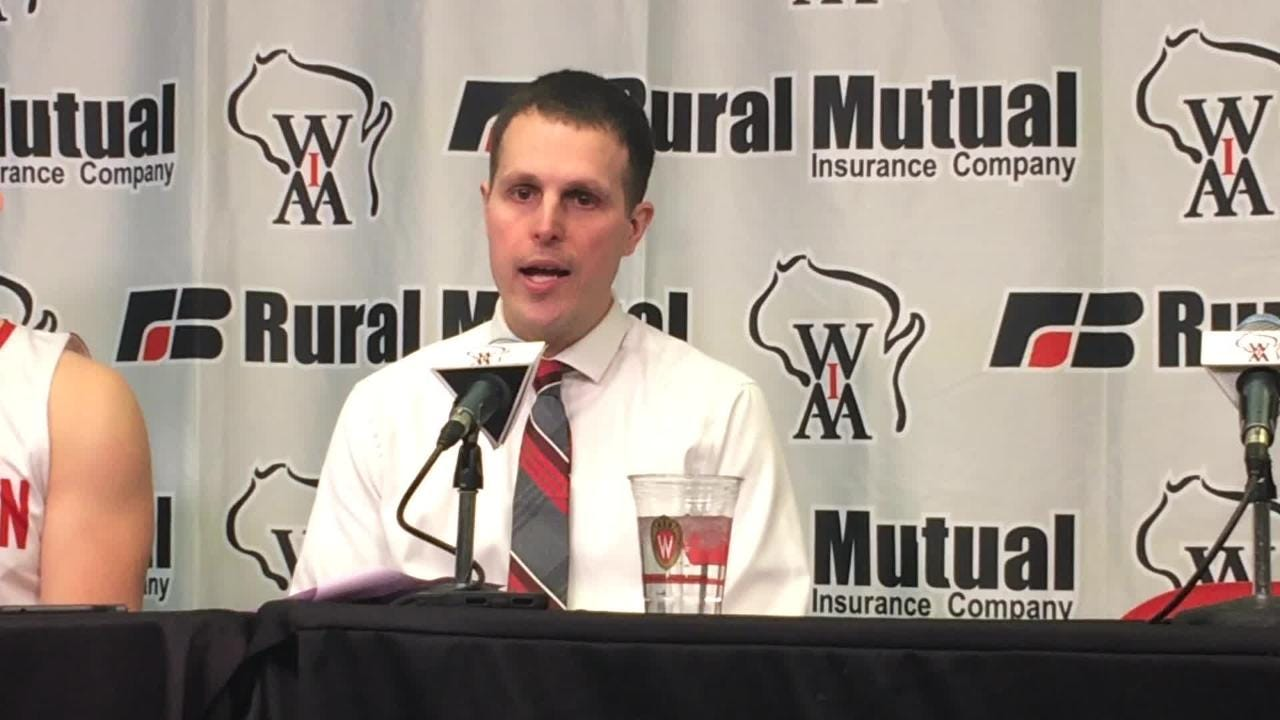 Marathon coach Adam Jacobson talks about his team's loss to Roncalli in the Division 4 state championship boys basketball game Saturday at the Kohl Center in Madison.