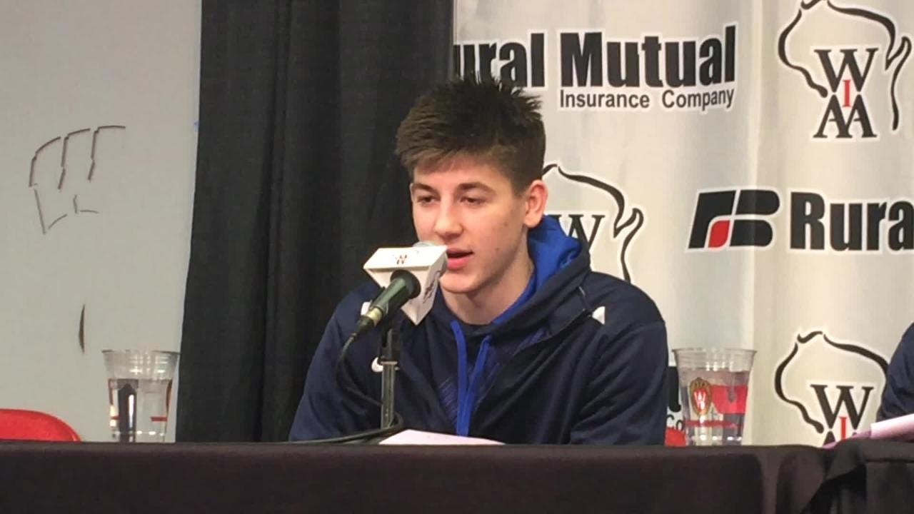 Roncalli's Mitchel Schneider discusses his 18-point second half in the Jets' Division 4 state title victory over Marathon.