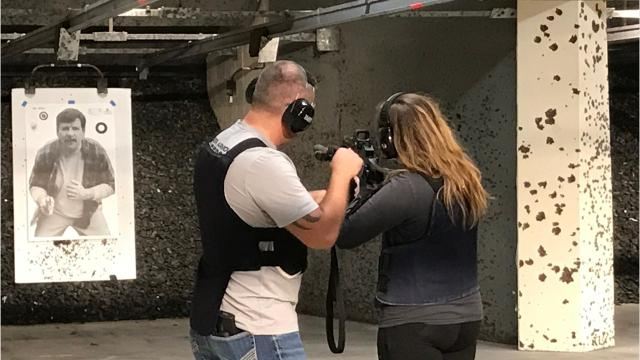 A Citizens Academy class participated in a same drill simulating a bank robbery.