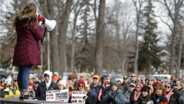 Hundreds of people took to the streets of downtown Appleton on Saturday morning and protested against gun violence.