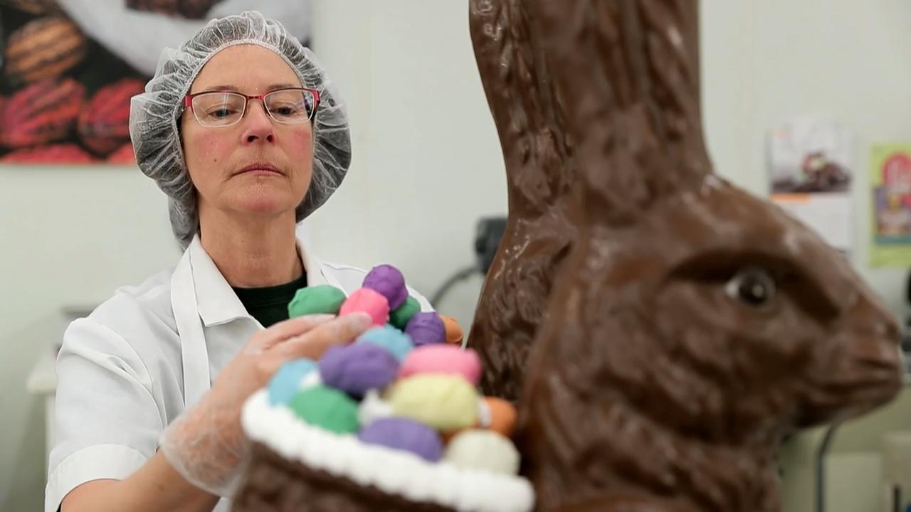 Seroogy's Chocolates makes more molded chocolates at Easter than any other holiday. And the De Pere-based company has chocolate bunnies in dozens of sizes, including one weighing about 25 pounds.
