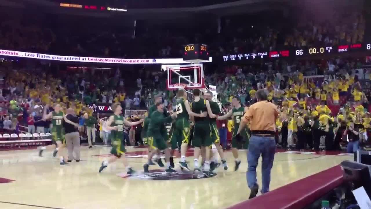 Sheboygan Lutheran star Sam Dekker hits a game-winning three-point shot in the waning moments of the 2012 WIAA Division 5 boys basketball state championship against Racine Lutheran at the Kohl Center in Madison.