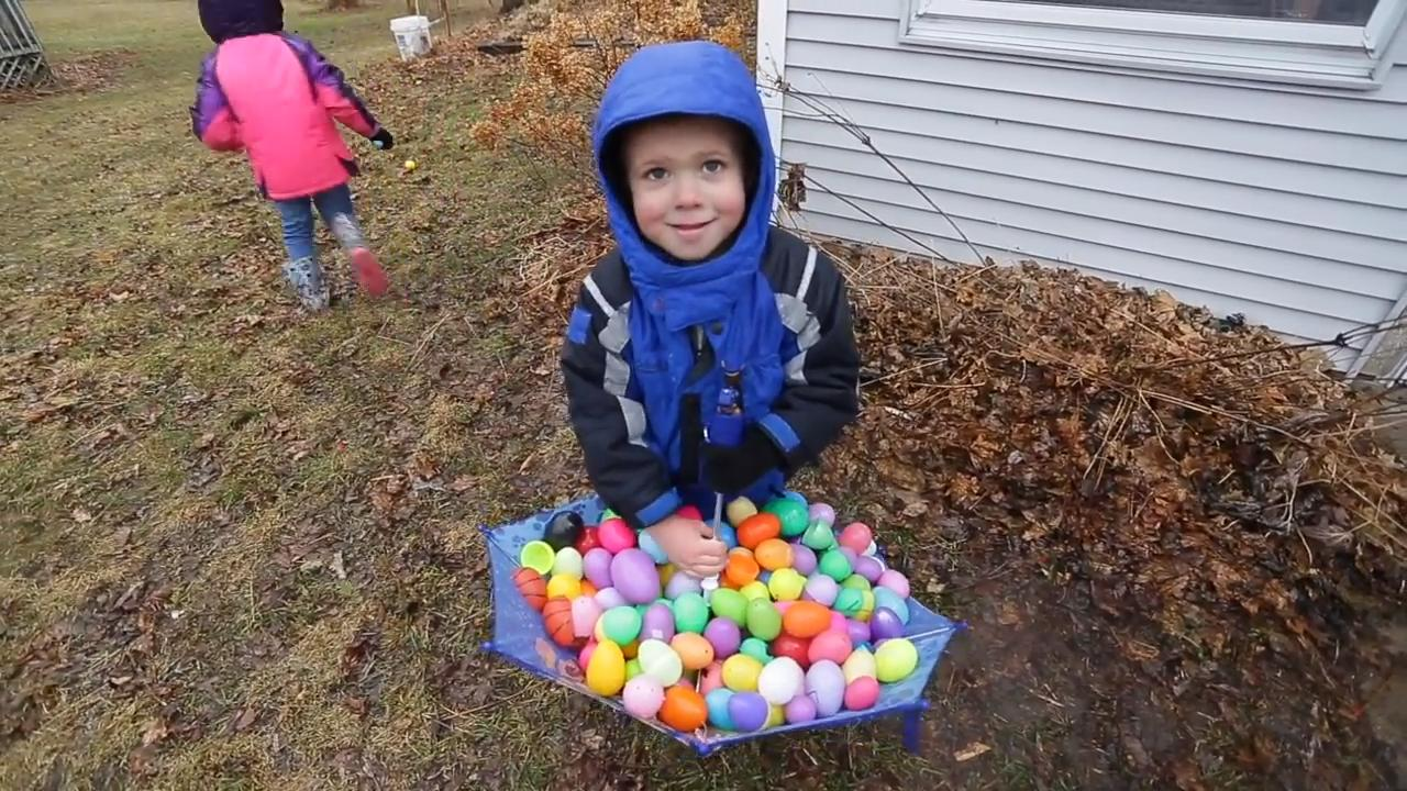 For over 20 years, Sheboygan Falls' Hocevar family has held an Easter Egg Hunt every year. This year several dozen children scampered around the family's backyard hunting out the 3000 eggs that were filled with toys and treats.
