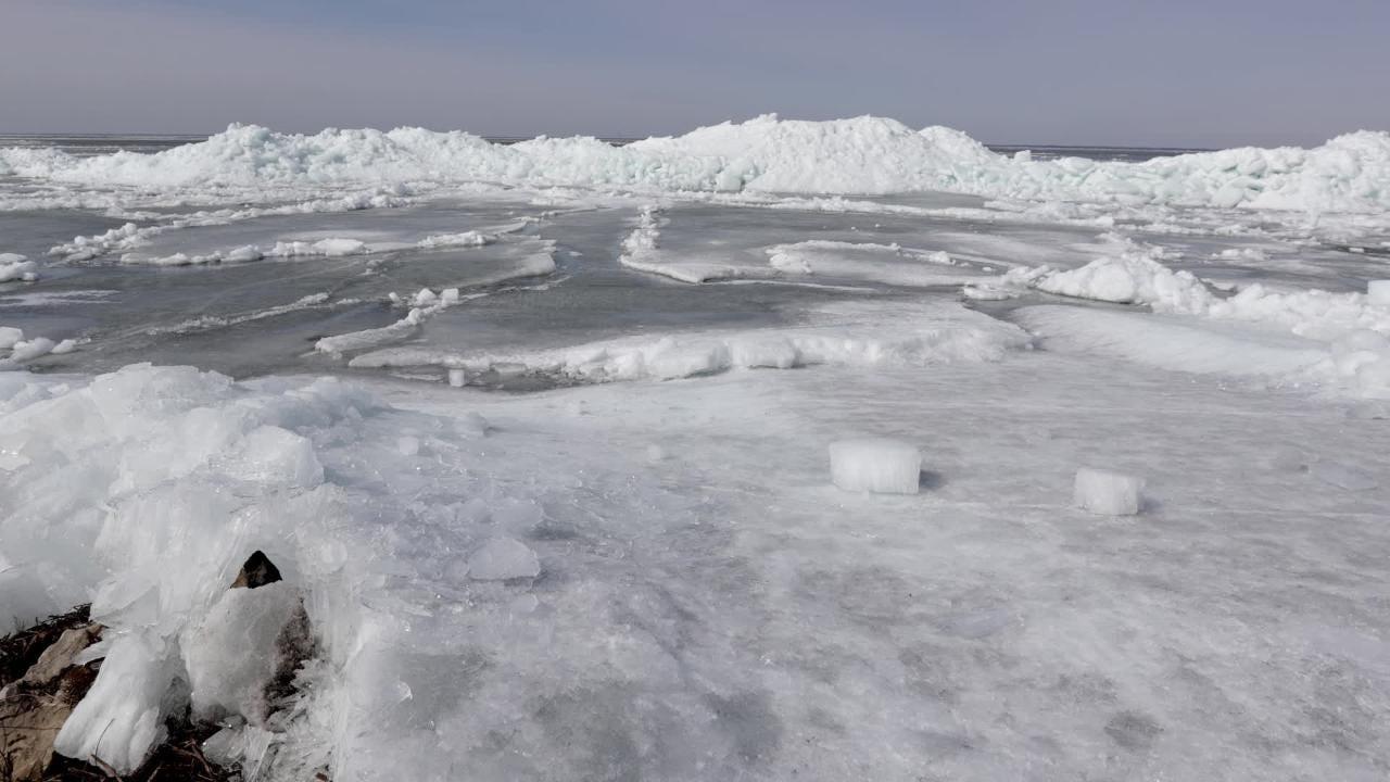 Ice shoves at Stockbridge Harbor on Monday, April 2, 2018 in Stockbridge, Wis.