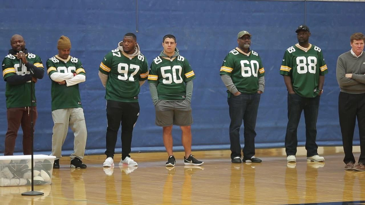 The Green Bay Packers' annual Tailgate Tour makes a surprise stop at Appleton North High School on Tuesday, April 10, 2018 in Appleton, Wis. Packers president and CEO Mark Murphy presented a $2,000 check for the school's physical education program.