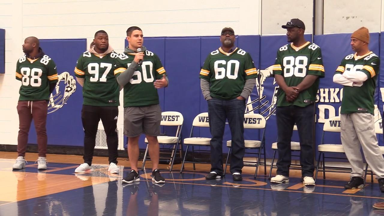The 13th annual Green Bay Packers Tailgate Tour made a surprise stop at Oshkosh West High School, April 10, 2018.  The Packers presented a $2000 check to the physical education department at West.  The tour continues through April 14.