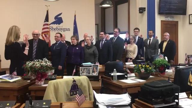 A smaller Sheboygan Common council was sworn in Tuesday, April 17, 2018, in Sheboygan, Wis.