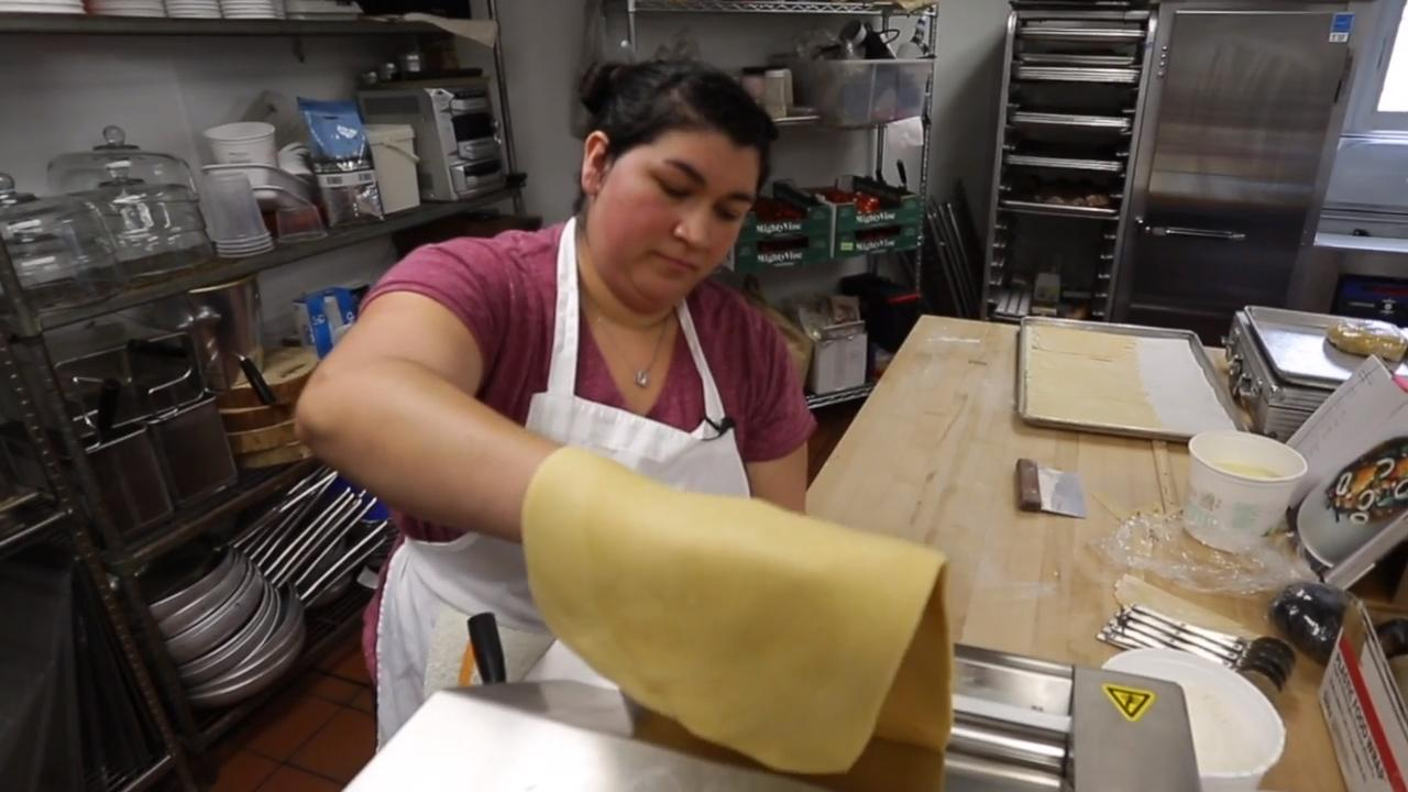 Maria Contreras, makes pasta of many types from scratch every day at Trattoria Stefano in Downtown Sheboygan.  Contreras, who is largely self-taught, is one of the few people statewide whose main job is pasta.