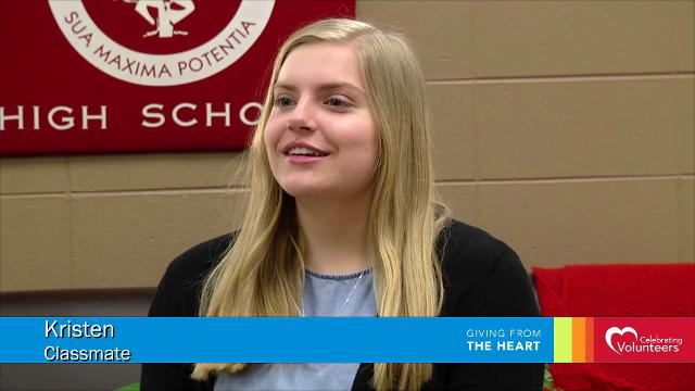 Rachel Miserlian, recipient of the 2018 Youth Scholarship Award, talks about why she started the Full Stop club. The group raises money and holds collection drives to help homeless women in the Fox Cities.