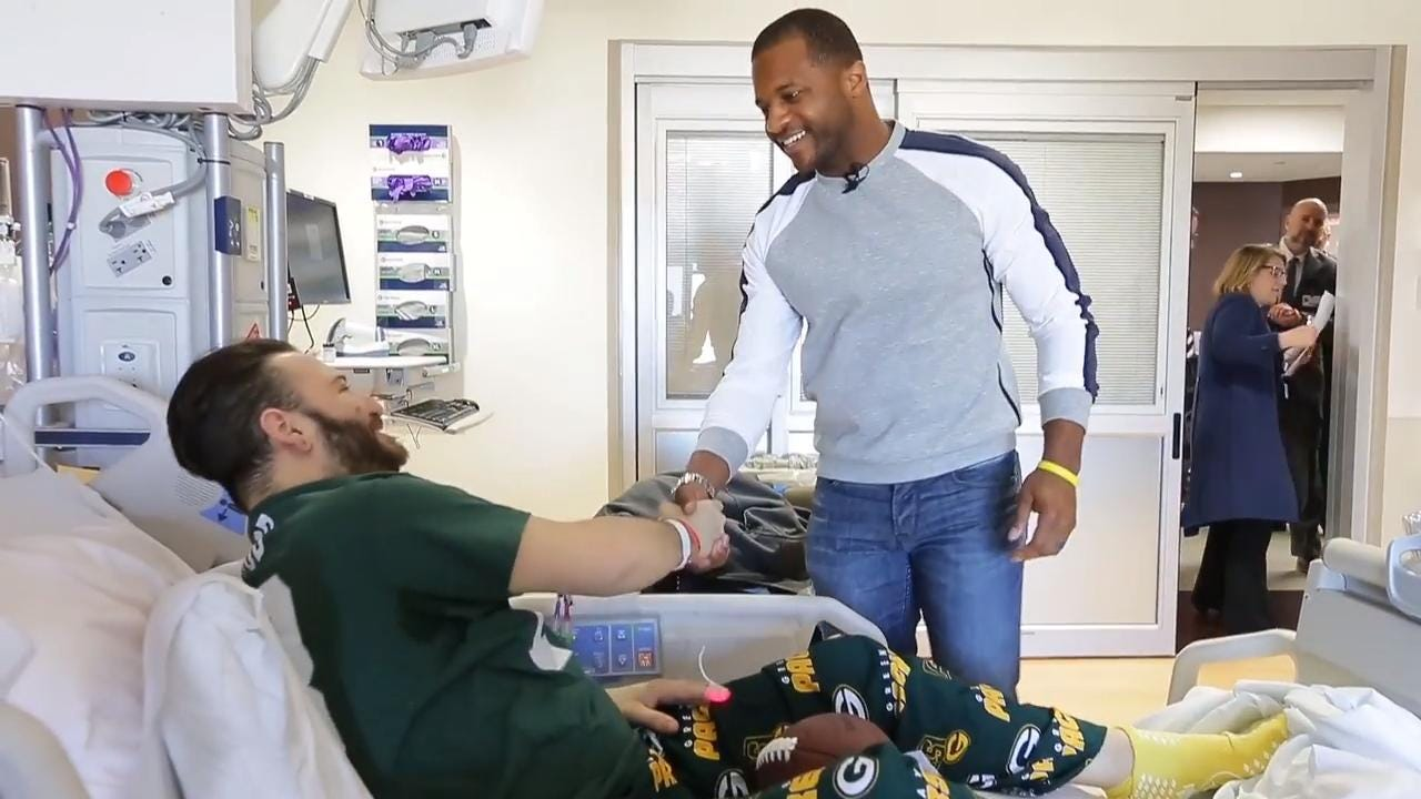 Green Bay Packers wide receiver Randall Cobb visits his biggest fans at Froedtert Hospital in Milwaukee.