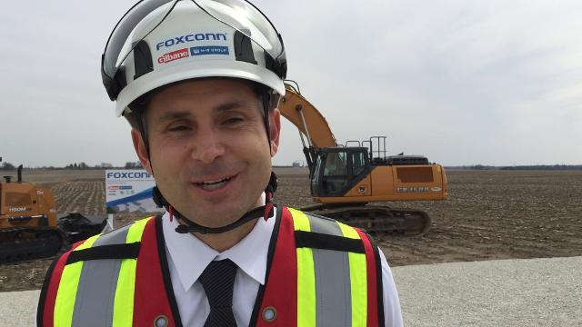 Adam Jelen, senior vice president with Gilbane Building Co., talks about the imminent site-preparation work for the 22-million-square-foot Foxconn Technology Group manufacturing complex in Racine County.