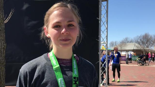 Kaitlyn McDaniel, 23, won the Oshkosh Marathon on her first time running one.