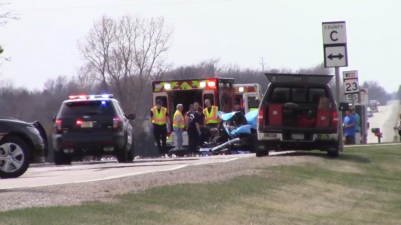 One person was killed due to injuries sustained in a crash on Highway 23 at County Highway C April 30, 2018.
